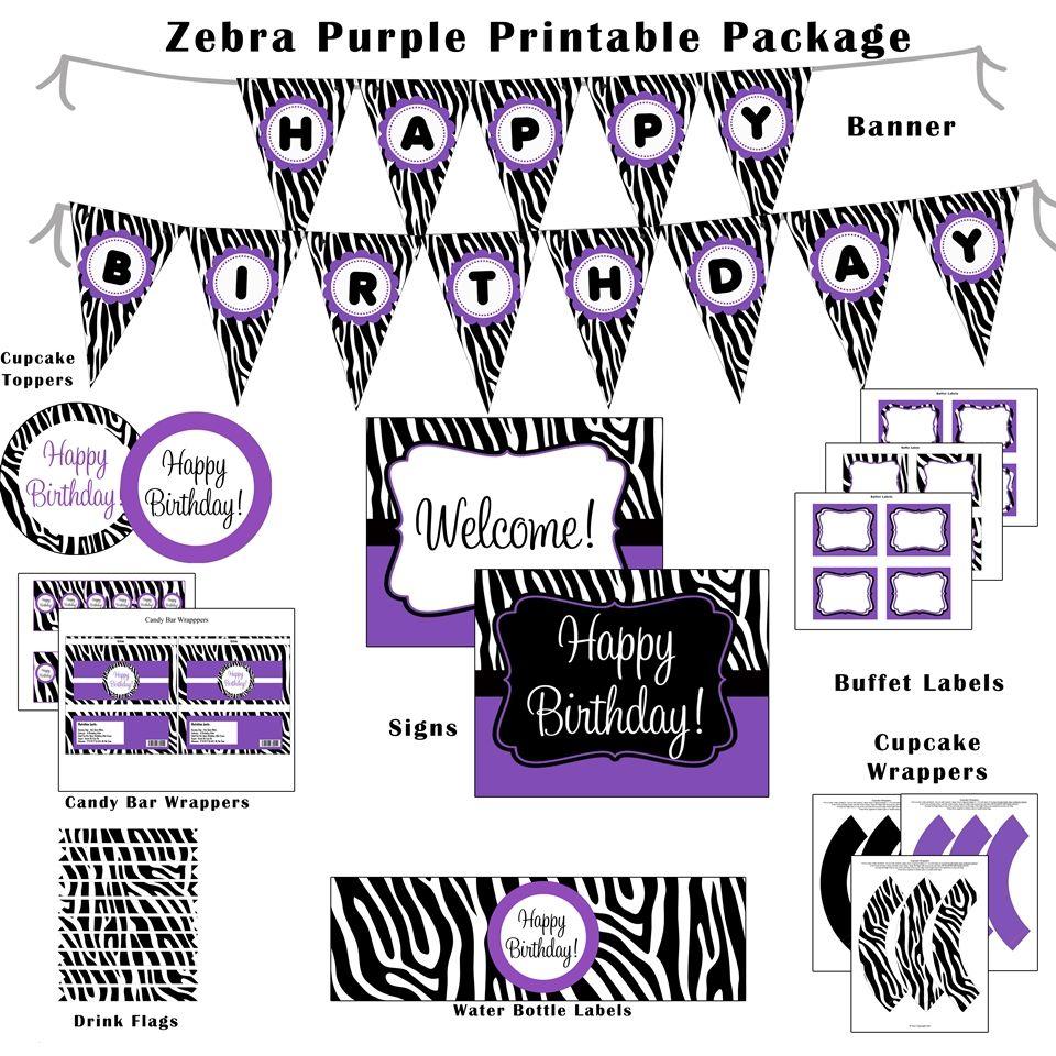 Zebra Hybrid Printable Birthday Package Purple Dessert Bar