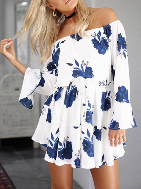 40d936434f21 Floral Print Off-the-shoulder Ruffled Mini Dress – oshoplive