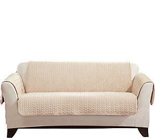 Sure Fit Quilted Cable Reverse to Sherpa Loveseat Furniture Cover