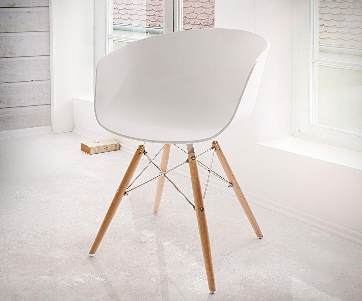 Esszimmerstühle modern weiß  Esszimmerstuhl Lissabon Weiss Matt Edelstahl Massivholz Möbel ...