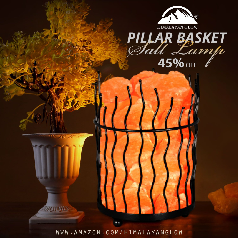 Himalayan Glow Pillar Basket Salt Lamp Salt Lamp Lamp Himalayan Salt Lamp