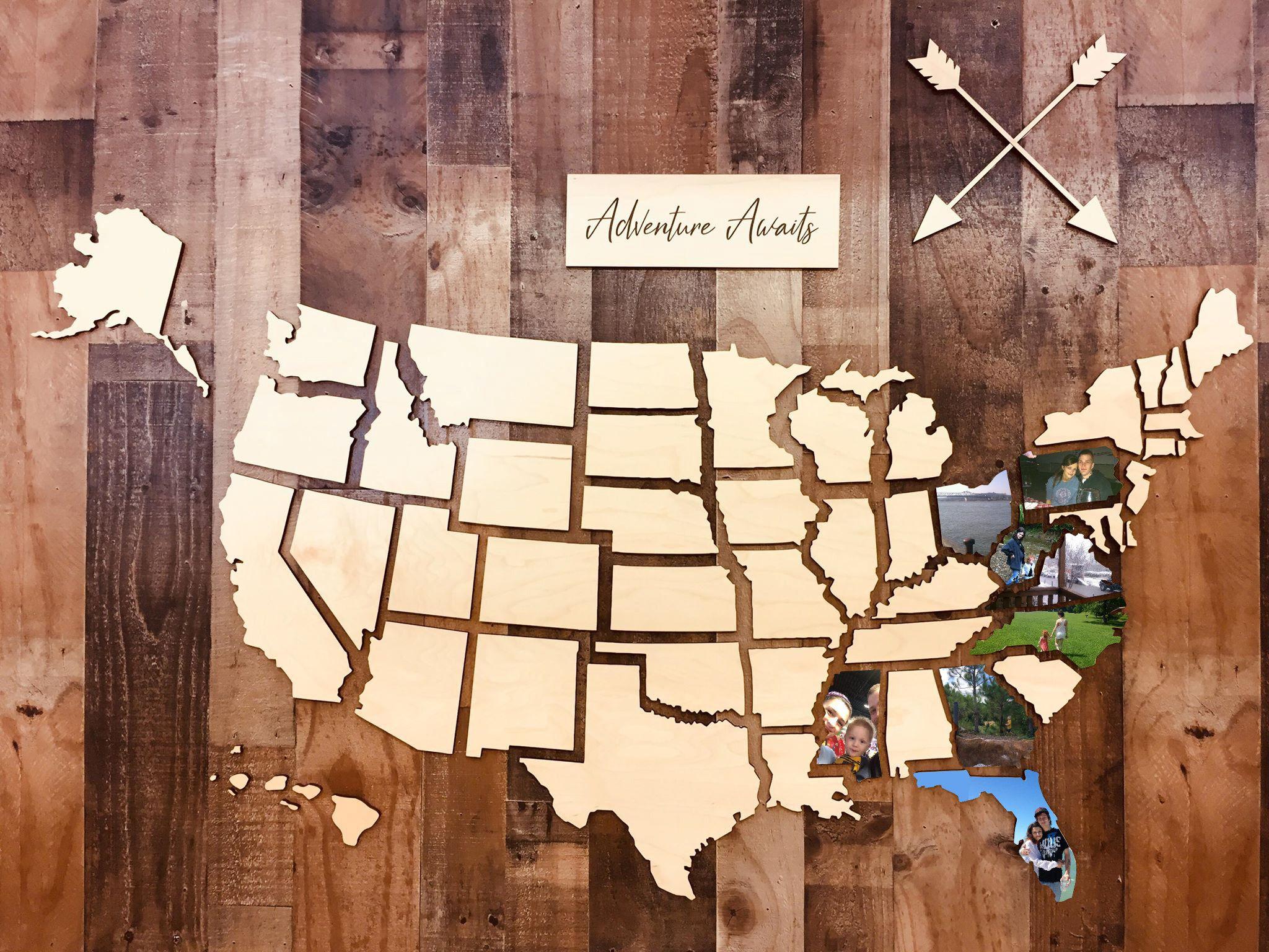Wooden U S Photo Map Usa Photo Map Us Photo Map Travel Etsy Wooden Map Wooden Wall Art Etsy Wall Art