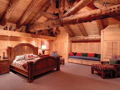 Log Cabin I dig in protruding closets with bench great use of