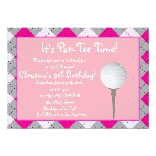 Par tee time girl personalized invitation golf inspiration par tee time girl personalized invitation stopboris Images