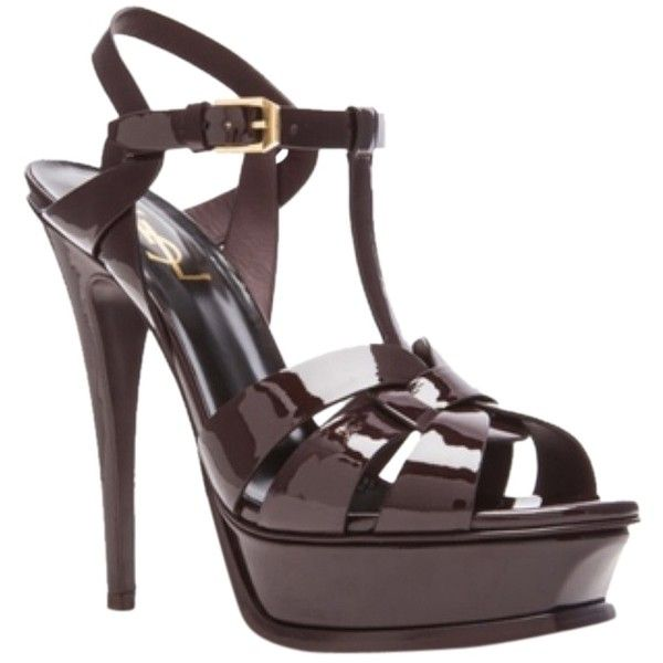 Pre-owned Saint Laurent Tribute Patent Leather Sandal In Bordeaux... ($463) ❤ liked on Polyvore featuring shoes, sandals, bordeaux, checkered shoes, patent leather sandals, patent leather shoes, patent sandals and yves saint laurent