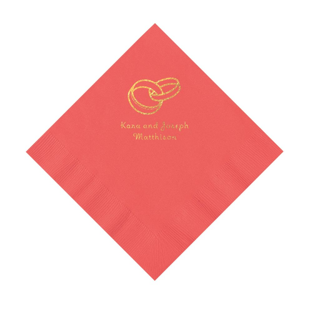 Coral Wedding Ring Personalized Napkins With Gold Ink
