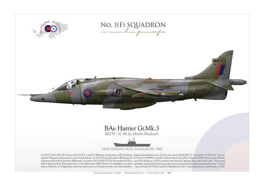 ROYAL AIR FORCENo. 1(F) SQUADRON XZ133 / 10 Flt Lt. Murdo MacLeod HMS Hermes (R12). Falklands, 1982