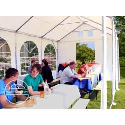 Photo of Xxl 4×8 m party tent 2.6 m side height, PVC tarpaulin 550 g / m², with floor frame, fire-proof white garden tent