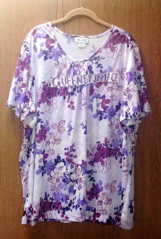 bf2b2b4a9ea New Blair Women s Plus Size Purple Floral short sleeve Shirt Top 3XL 3X  B1238  Blair  Blouse  Casual