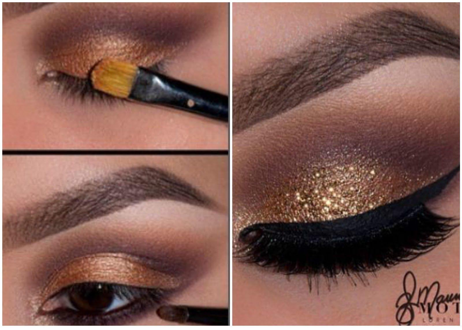 Maquillaje De Noche Con Glitter Dorado Paso A Paso Smokey Eye Makeup Makeup Trendy Makeup
