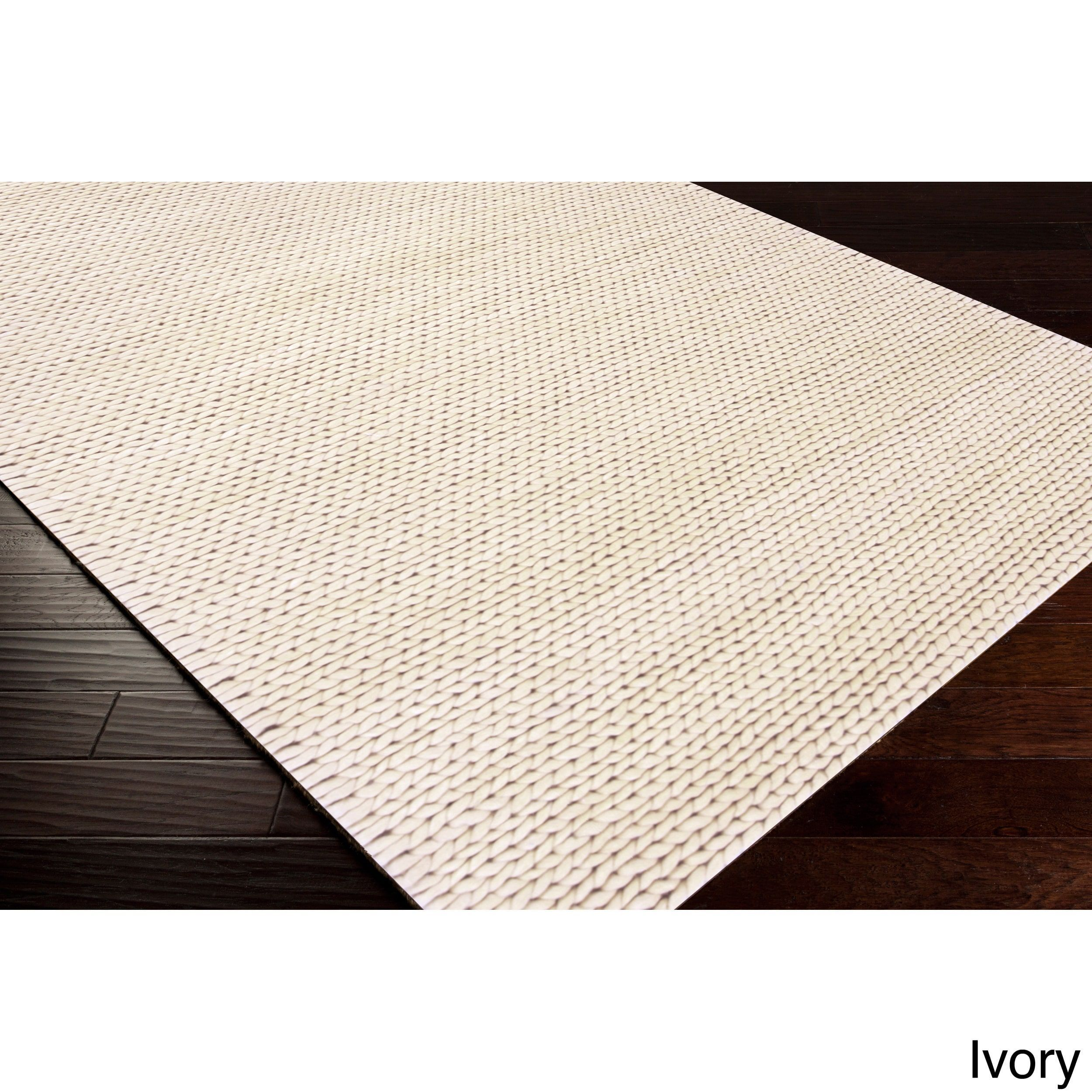 Hand Woven Hale Contemporary Solid Braided New Zealand Wool Area Rug 8 X 10