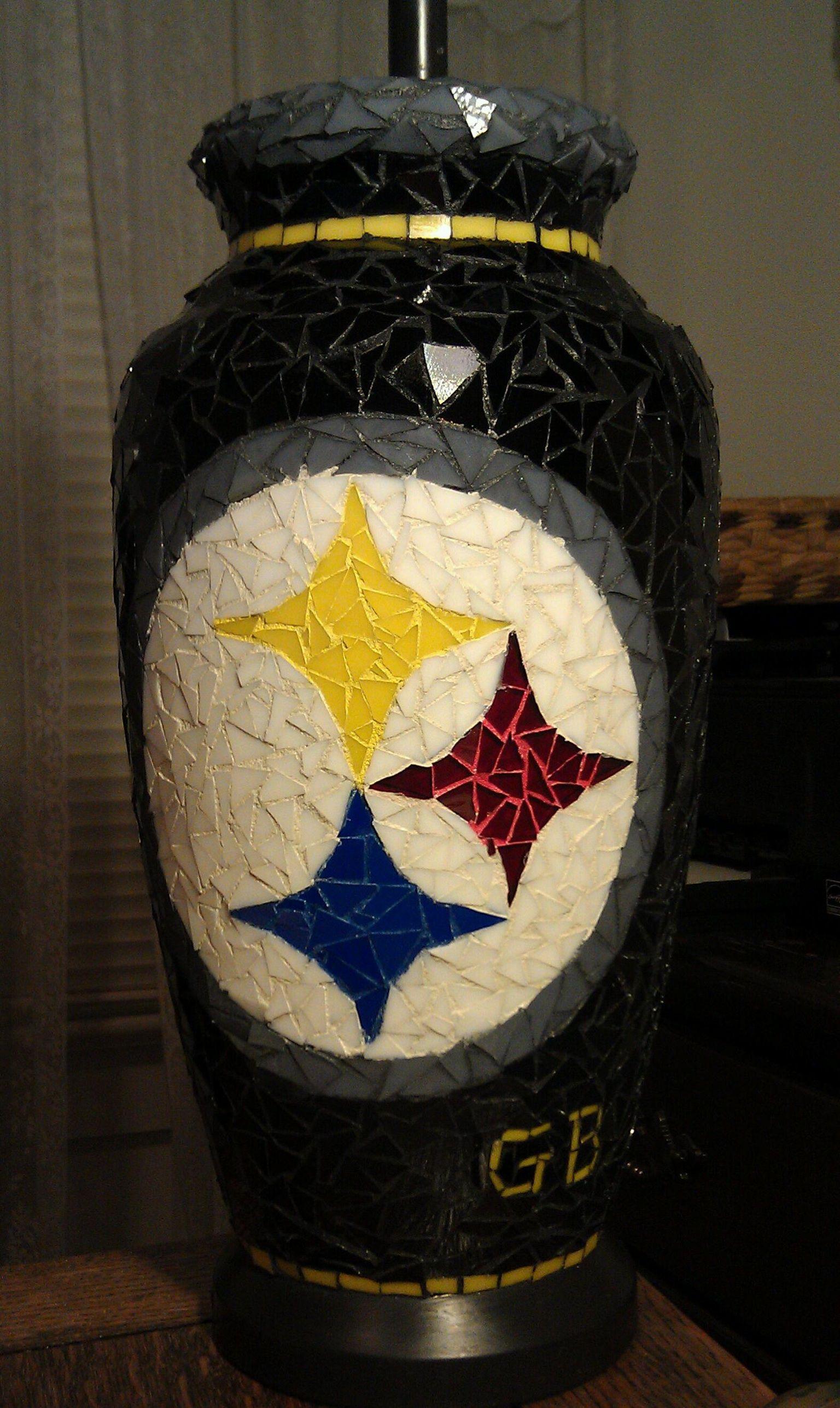 Pittsburgh Steelers Mosaic Steelers Lamp ℬℒaℂk Yℰℒℒow ร
