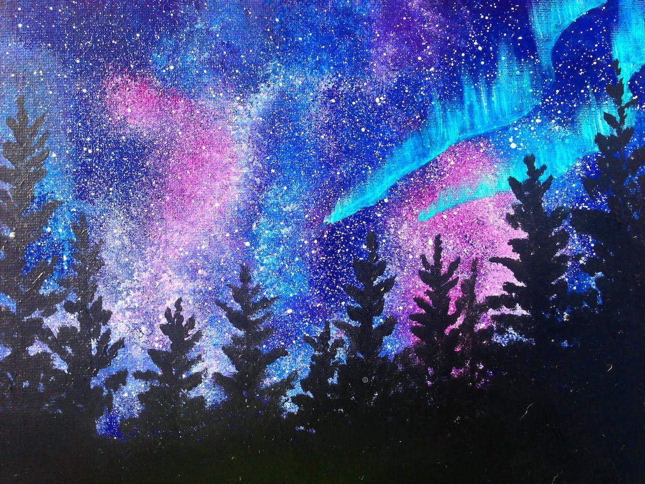 Beginner acrylic art lesson aura borealis landscape for How to acrylic paint
