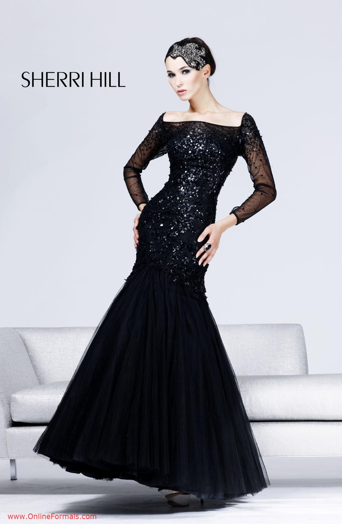 Sherri hill long sleeve prom dress a black tie affair