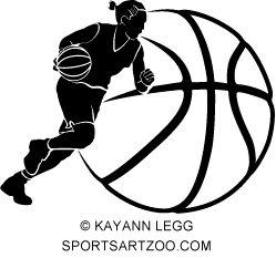 girl basketball dribble silhouette