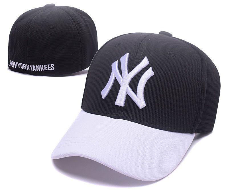 a6cca7fd0917c Men s   Women s New York Yankees NY Team Logo Embroidery Flexfit Hat - Black    White   White