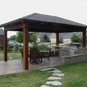 Perfect Outdoor Summer Kitchen In Gazebo With Brick Kitchen Cabinet Grill And Pleasant Chair Set And Wo Backyard Pavilion Small Outdoor Kitchens Backyard Patio