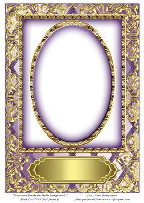 Decorative border on trellis background blank card with oval decorative border on trellis background blank card with oval m4hsunfo Images
