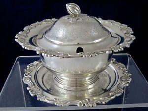 Amazing Sheffield Reproduction Silverplate Caviar Dish W
