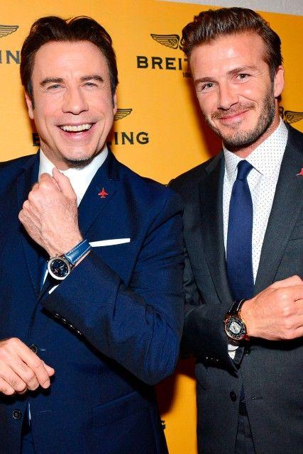 John Travolta And David Beckham At The Breiting New Store Event Actriz De Cine Cowboy De Ciudad Reloj Pulsera