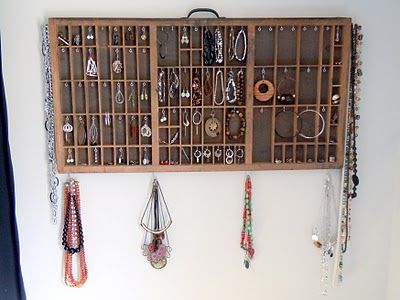 I turned an old letterpress type tray into a wallhanging jewelry