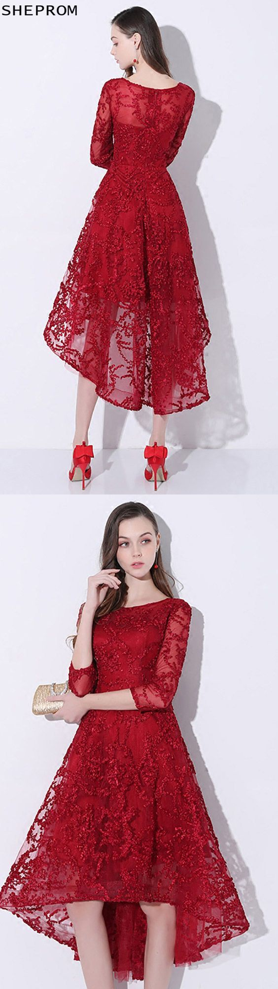 Trendy burgundy red lace homecoming dress high low with sleeves