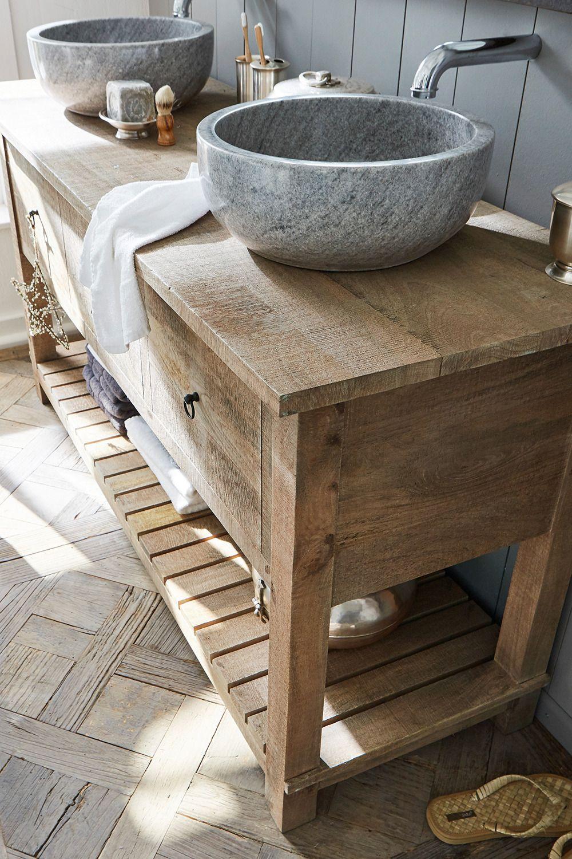 Spa Feeling Fur Das Eigene Badezimmer Zuhause Der Waschtisch Besteht Am Unterschrank Aus Waschtisch Holz Unterschrank Waschtisch Badezimmer Unterschrank Holz