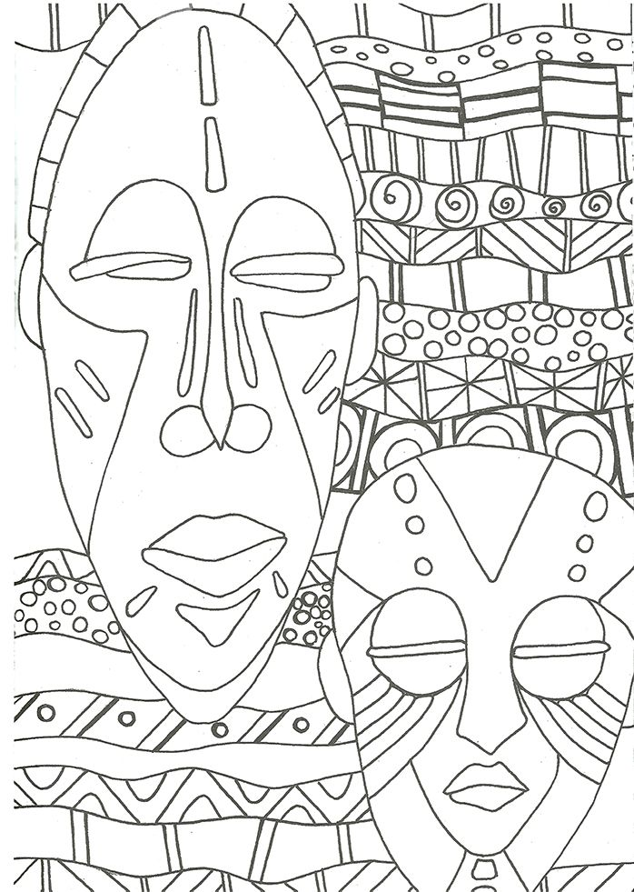 Coloriage masques africains coloriage et imprimerie pinterest masking african masks and - Coloriage masque ...