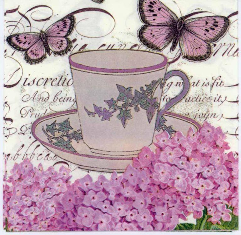 Decoupage Paper Napkins of Violet Hydrangeas Tea and Butterflies|Decorative napkin | Chiarotino #papernapkins
