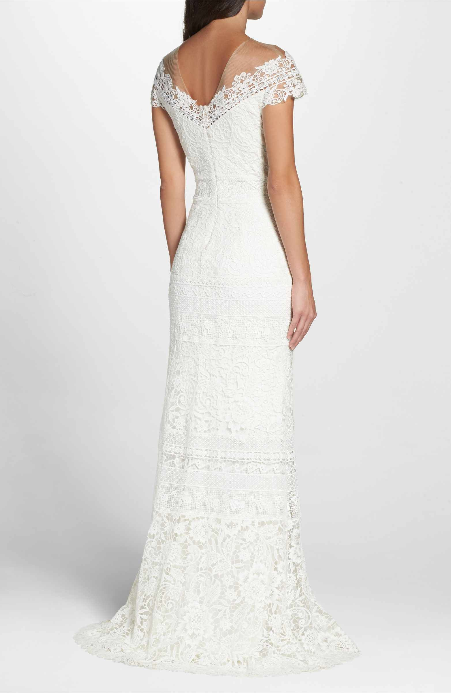 Main Image - Tadashi Shoji Off the Shoulder Illusion Lace Gown ...