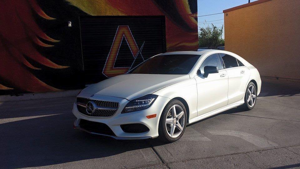 Mercedes benz cls 550 3m vinyl wrap pearl white apex for Mercedes benz apex