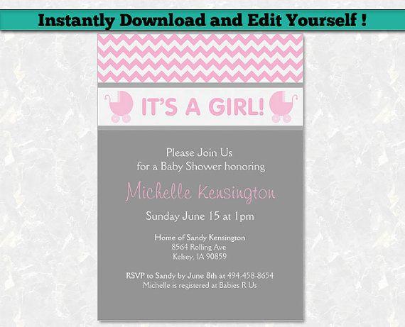 Pink baby shower invitation for girl editable pdf printable baby pink baby shower invitation for girl editable pdf printable baby shower invitation template chevron baby shower stopboris Choice Image