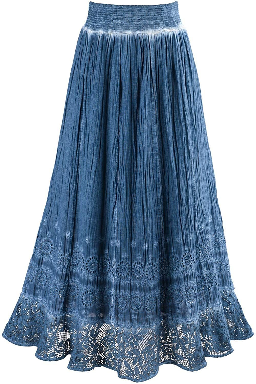 Indigo Blue Pigment Washed Crochet Hem