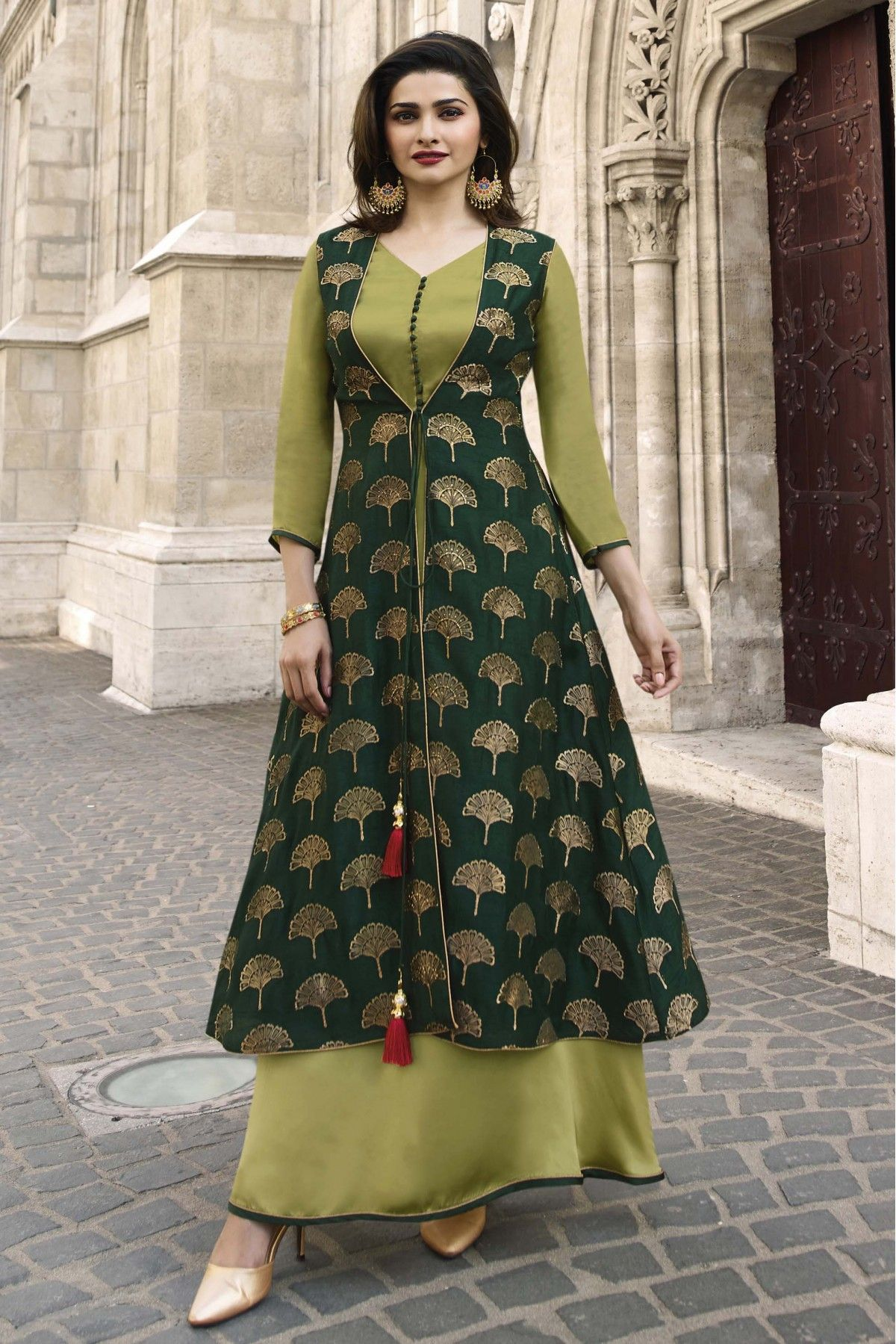 2960307a1a This Banarasi Jacquard And Satin Green Colour Kurti Is The Fun Attire Of  The Moment. Get It On and Style It With Handbag and Earrings For The  Perfect Day ...
