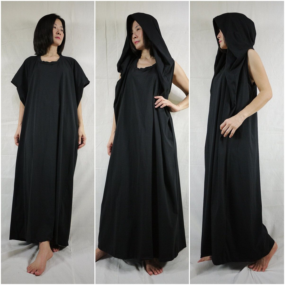 Funky Oversize Hood Cape Maxi Black Cotton Jersey Dress by