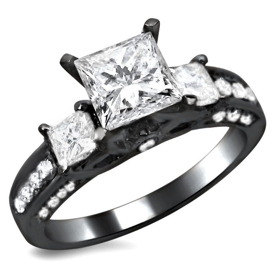 2ct Tdw 3 Stone Princess Cut Diamond Engagement  Ring (size 10), Women's