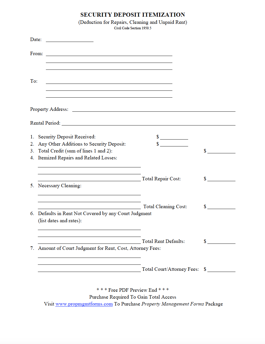 image relating to Free Printable Property Management Forms named Safety DEPOSIT ITEMIZATION PDF Residence Manage Kinds