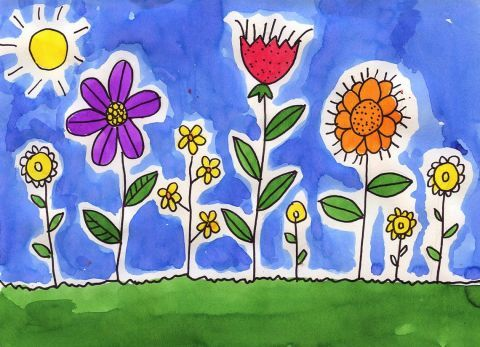 spring flower watercolor painting for kids - Spring Pictures For Kids