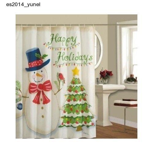 Lorraine Home Fashions Happy Holidays Shower Curtain Bath