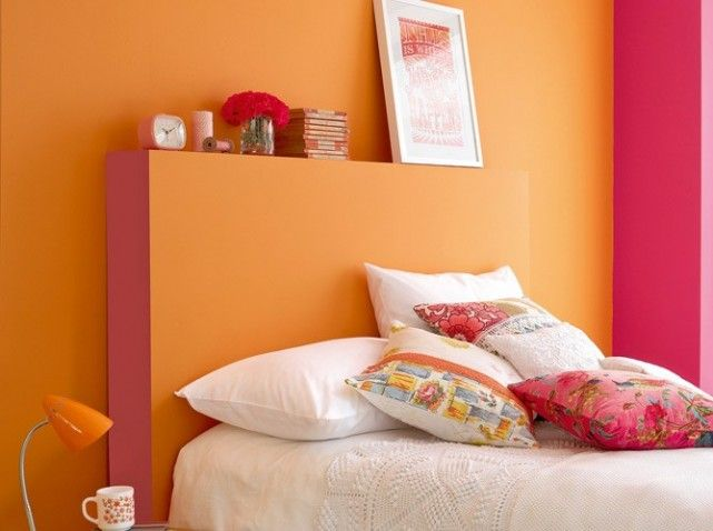 Chambre orange et rose | 色系(橙) | Wall paint colors、Orange ...
