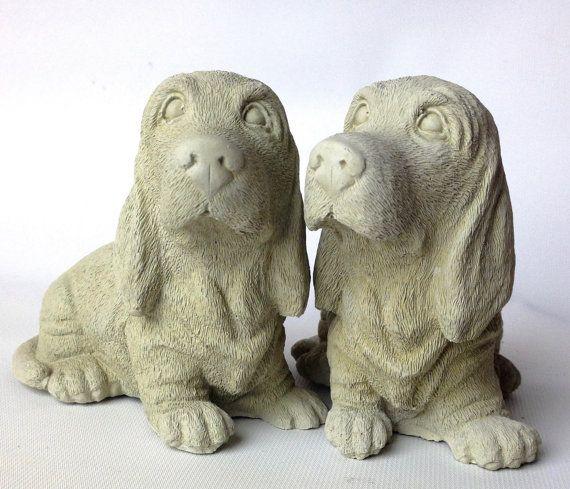 Concrete Basset Hound Beagle Statue Dog By DecorObjectsEmotions