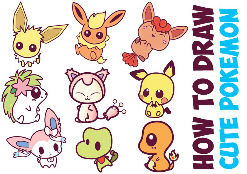 How To Draw Cute Pokemon Characters Kawaii Chibi Style In Easy