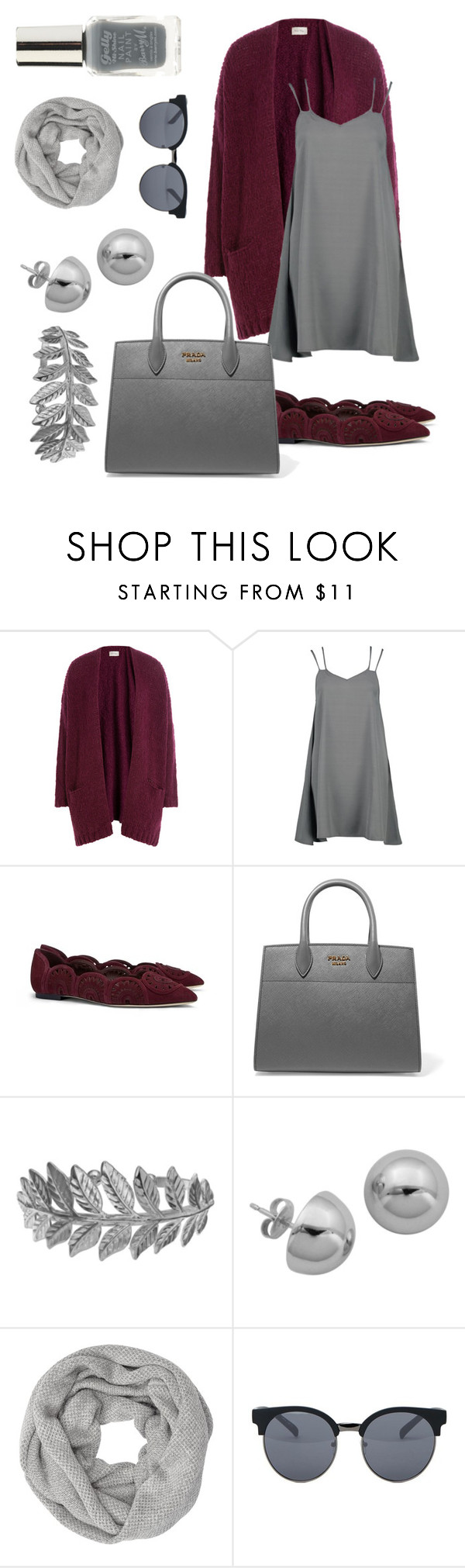 """""""All gray"""" by tissina ❤ liked on Polyvore featuring American Vintage, Boohoo, Tory Burch, Prada, Lord & Taylor, John Lewis, Quay and Lipsy"""