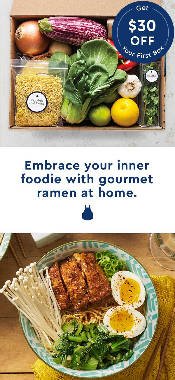 Kiss instant ramen goodbye for good. Start making delicious, restaurant-style ramen and much more at home with $30 off your first Blue Apron box!