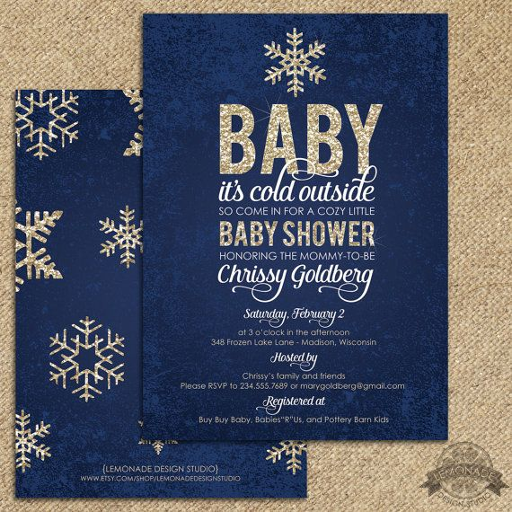 Gold And Navy Baby Shower Invitation And Free Back Baby It 39 S Cold Outside Go Baby Shower Boy Invitations Free Navy Baby Showers Baby Shower Invitations