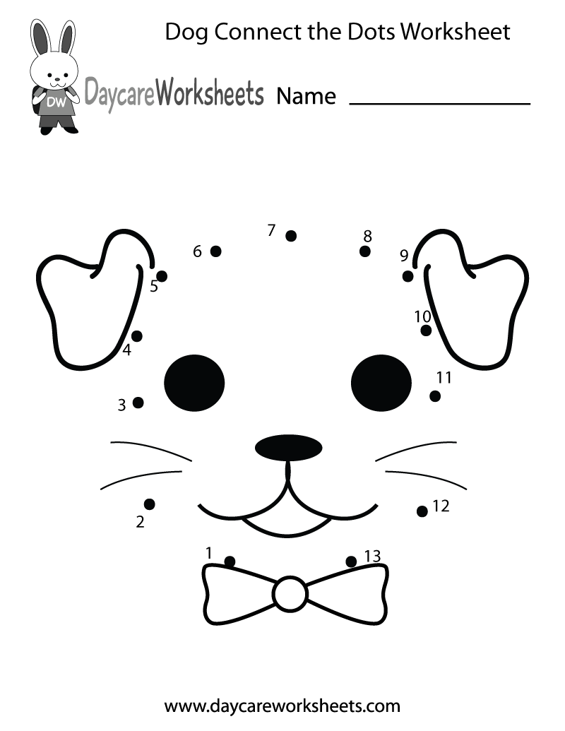 Preschoolers can connect the dots to make a dog in this free – Math Dot to Dot Worksheets