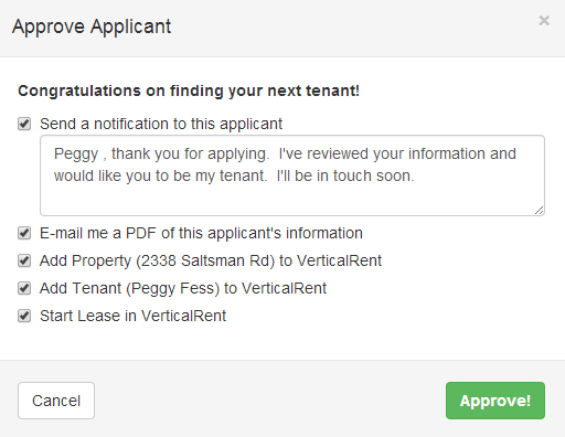 Approve Applicant Within VerticalRent