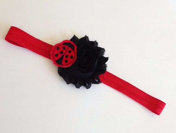 Black and Red Ladybug Elastic Headband on Etsy, $6.25