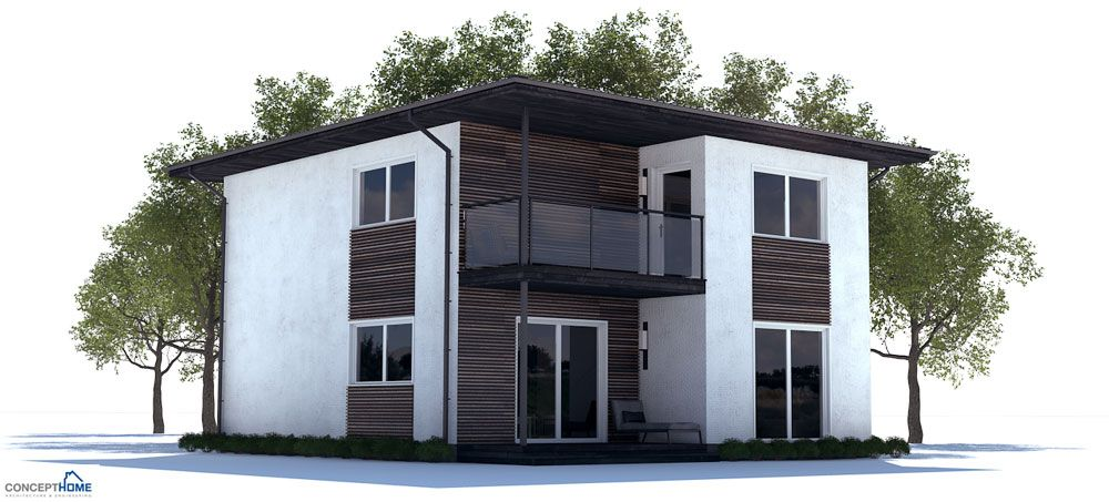 Affordable home design with three bedrooms. Open planning, efficient ...