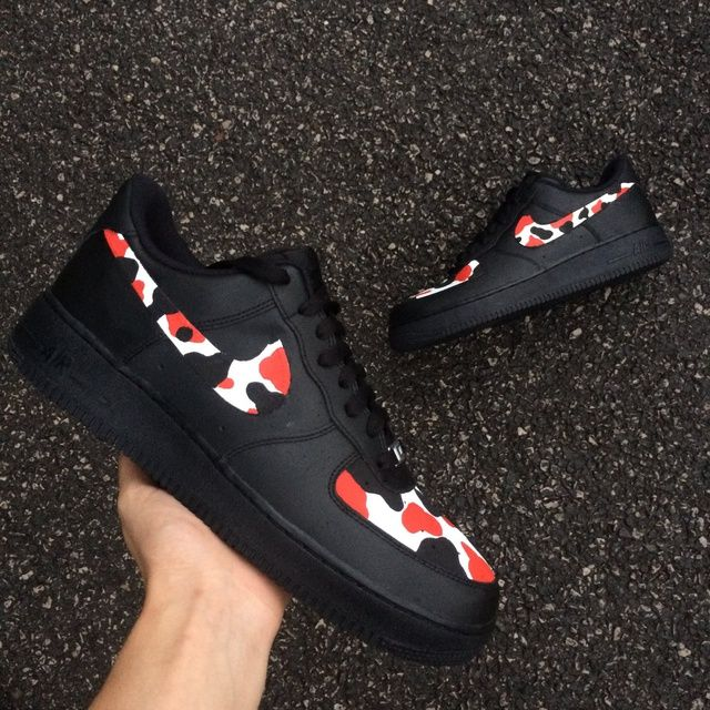 Nike AF1 Black Red Camo in 2020   Nike air shoes, Air